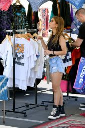 Brenda Song in Jeans Shorts - Shopping in LA 07/16/2019