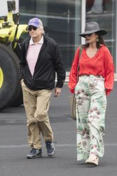 Catherine Zeta-Jones - Catching a Helicopter to Silverstone Grand Prix 07/14/2019