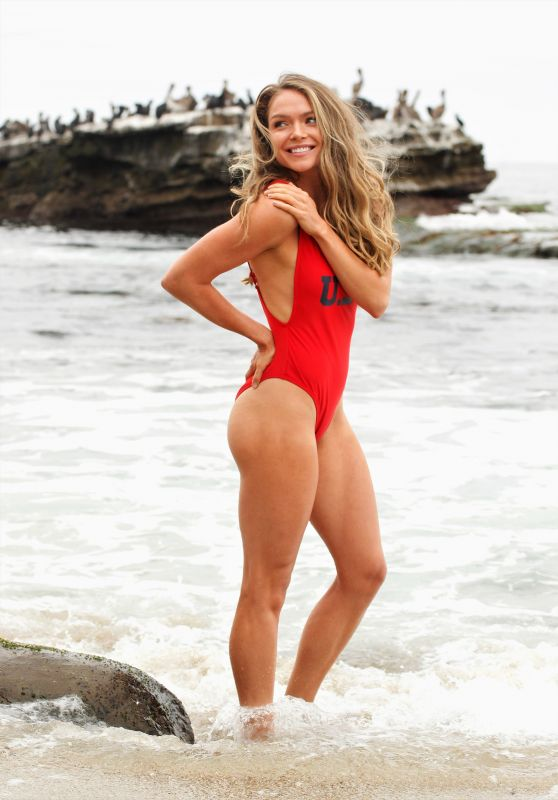 Chari Hawkins in a Baywatch-Esque USA-Themed Swimsuit - Beach in California 07/02/2019