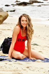Chari Hawkins in a Baywatch-Esque USA-Themed Swimsuit - Beach in California 07/02/2019