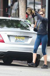 Elizabeth Olsen in Leggings - Leaving Alfred Coffee in Studio City 07/08/2019