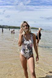 Ella Jarvis in Swimsuit on Crantock Beach 07/25/2019