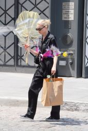 Elsa Hosk in Striped Trousers With Tie-Dye Top 07/29/2019
