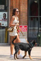 Emily Ratajkowski in Mini Dress - Walking Her Dog in NY 07/29/2019
