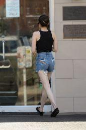 Emma Roberts in Ripped Jeans Shorts - Los Feliz 07/25/2019
