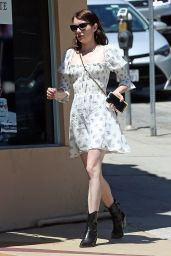 Emma Roberts in Square Neck Floral Dress 07/27/2019
