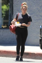 Hilary Duff in Tights - Leaving Pilates Class in LA 07/01/2019