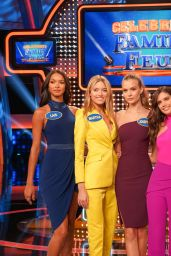 "Jasmine Tookes, Josephine Skriver, Lais Ribeiro, Martha Hunt and Sara Sampaio on ""Celebrity Family Feud"" Talk-Show"