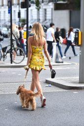 Kimberley Garner in a Short Yellow Summer Dress - Chelsea 07/09/2019