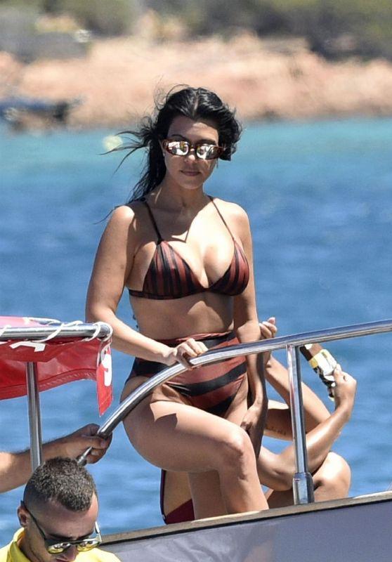 Kourtney Kardashian in a Bikini on the Yacht - Sardinia 07/30/2019