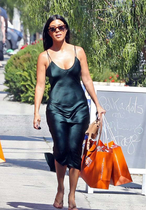 Kourtney Kardashian in a Satin Slip Dress 07/13/2019