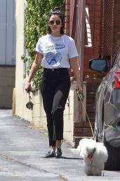 Lucy Hale - Walking Her Dog in LA 07/19/2019