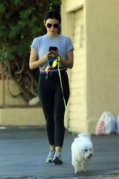 Lucy Hale - Walking Her Dog in Studio City 07/28/2019