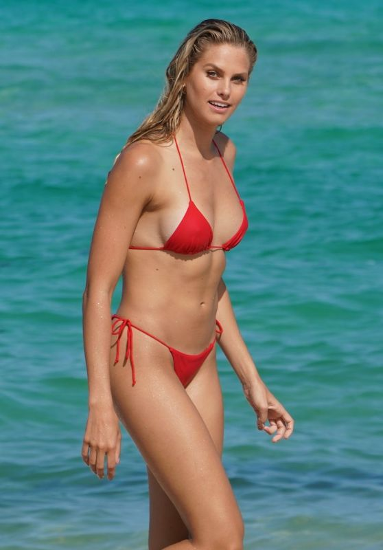 Natalie Jayne Roser in a Red Bikini at Miami Beach 07/09/2019