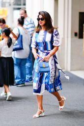 Priyanka Chopra in a Blue and White Dress 07/23/2019