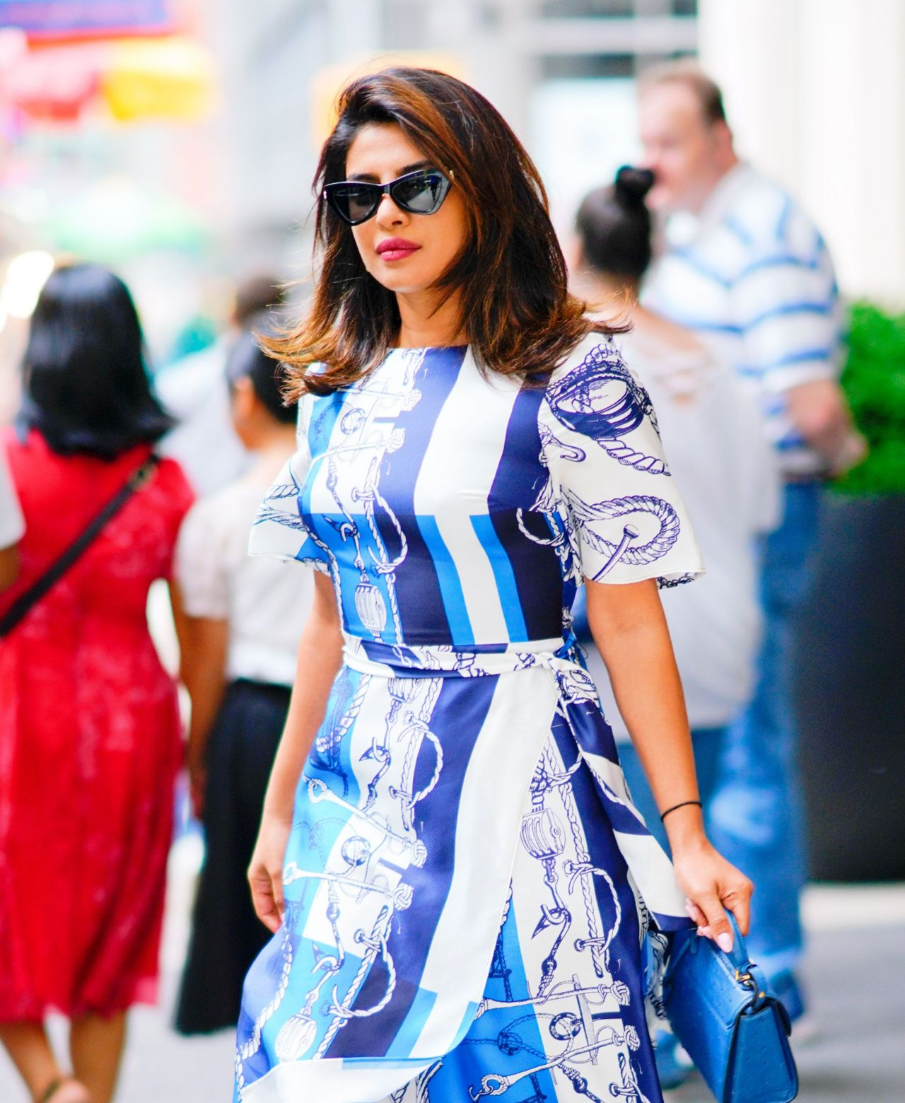 Priyanka Wedding White Gown: Priyanka Chopra In A Blue And White Dress 07/23/2019