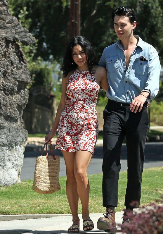 Vanessa Hudgens in Summer Dress - Out in Los Feliz 07/15/2019
