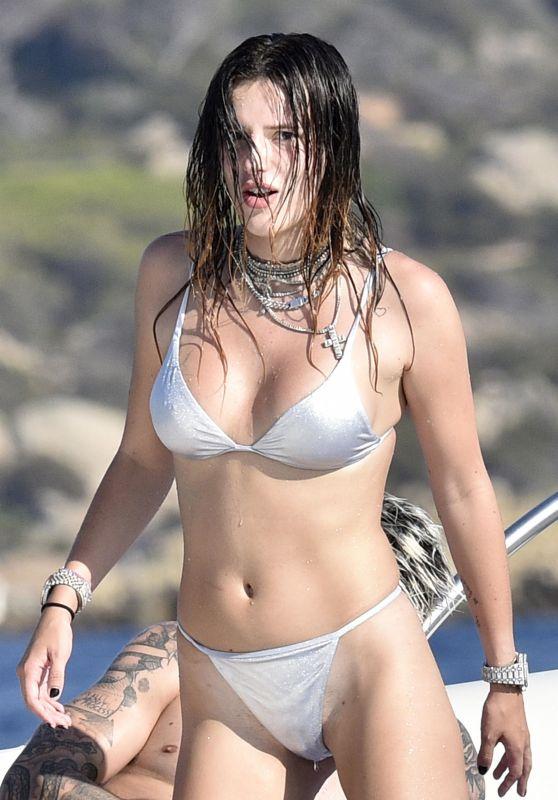 Bella Thorne in a Silver Bikini - Sardinia 08/21/2019