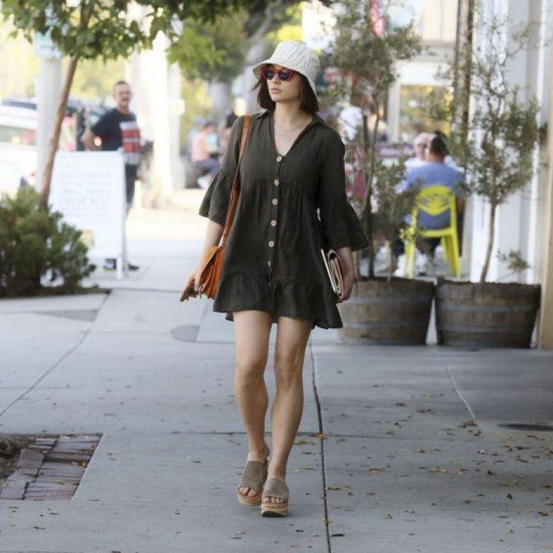 Crystal Reed in Mini Dress in Los Angeles 08/01/2019
