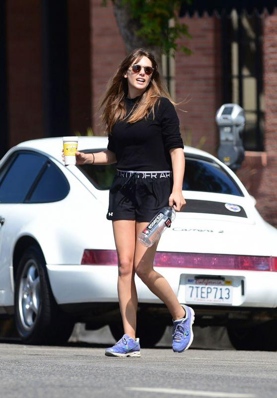 Elizabeth Olsen Leggy in Shorts - Studio City 08/28/2019