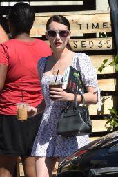Emma Roberts in Summer Mini Dress - Gettin Coffee in LA 08/15/2019