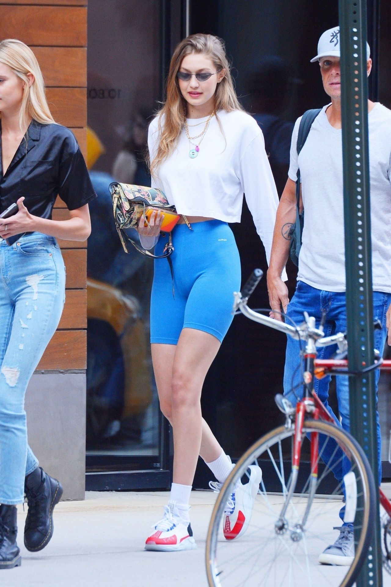 Gigi Hadid in Biker Shorts - Leaving Her Apartment in NYC 08/05/2019