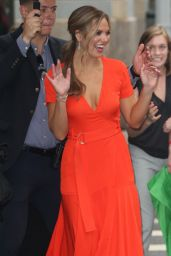 Hannah Brown in a Plunging Orange Dress at BUILD Series in New York City 07/31/2019