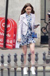 """Lily Collins - """"Emily in Paris"""" Set in Paris 08/14/2019"""