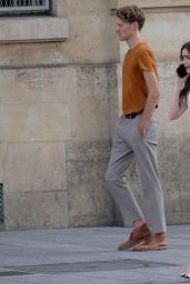 """Lily Collins - """"Emily in Paris"""" Set in Paris 08/28/2019"""