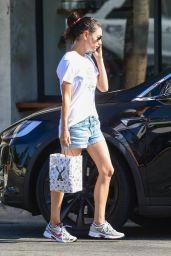Mila Kunis in Jeans Shorts - Studio City 08/26/2019