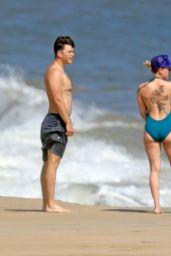 Scarlett Johansson in a Swimsuit - Beach in the Hamptons, NY 08/11/2019