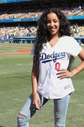 Tinashe - Sings The National Anthem at The Dodgers Stadium in LA 08/25/2019