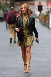 Amanda Holden in a Yellow Floral Dress and Leather Jacket 09/12/2019