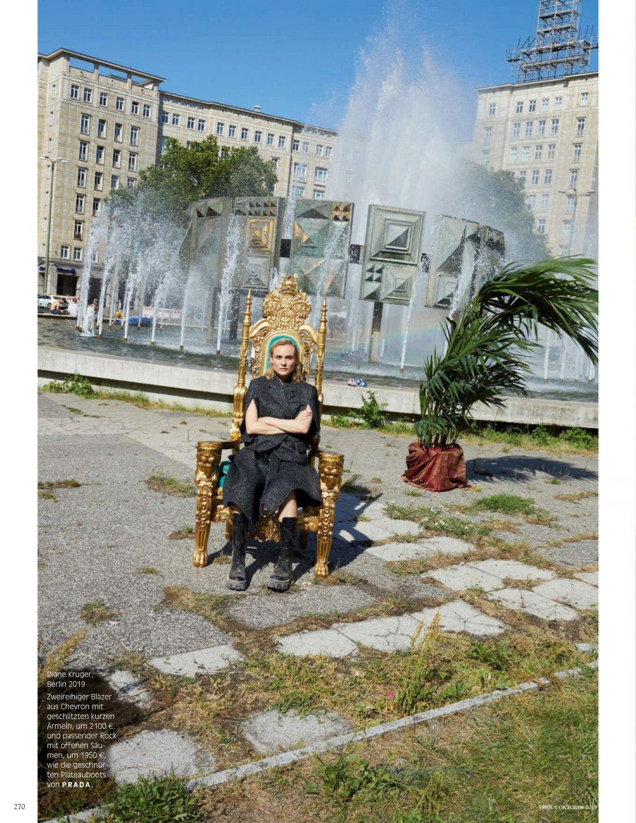 Диана Крюгер купается в фонтане в съемке немецкого Vogue (фото 2)