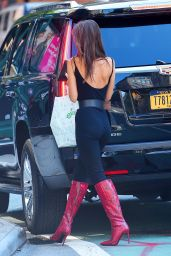 Emily Ratajkowski in a Catsuit With Snakeskin Boots 09/11/2019