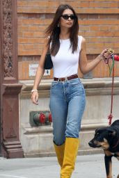Emily Ratajkowski in White Tank, Jeans and Yellow Knee-High Boots 09/16/2019