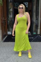 Iskra Lawrence in a Tight Lime Green Dress 09/28/2019