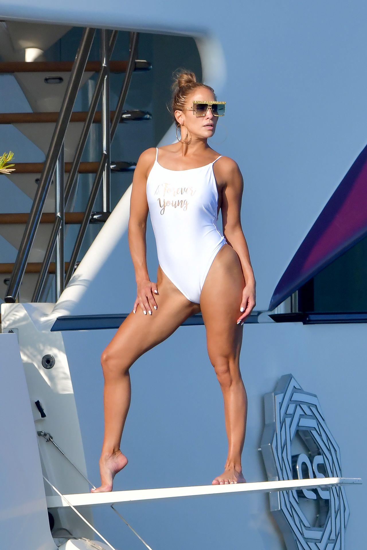 Jennifer Lopez in a Swimsuit on a Yacht in Saint-Tropez 09/03/2019