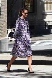 Katie Holmes in Floral Dress 09/17/2019