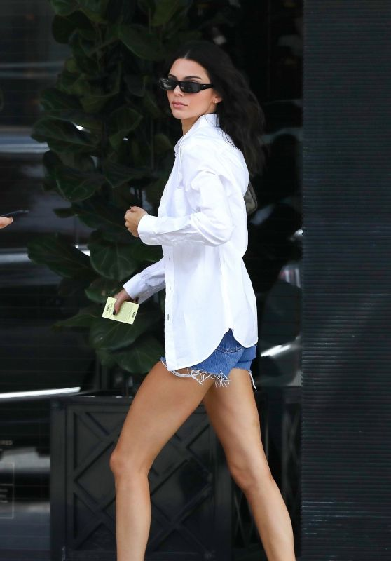 Kendall Jenner in Denim Shorts and Oversized Button-Up Shirt 09/25/2019
