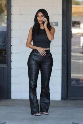 Kim Kardashian in Black Leather Slacks 09/24/2019