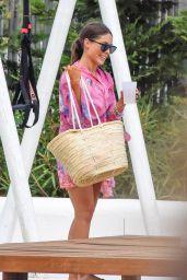 Louise Thompson in a Flower Print Bikini in Ibiza 09/16/2019
