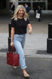 Mollie King Street Style - Exits the BBC Studios in London 09/09/2019