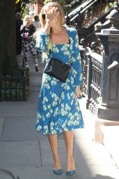 Sarah Jessica Parker in a Blue Floral Sundress - NYC 09/19/2019