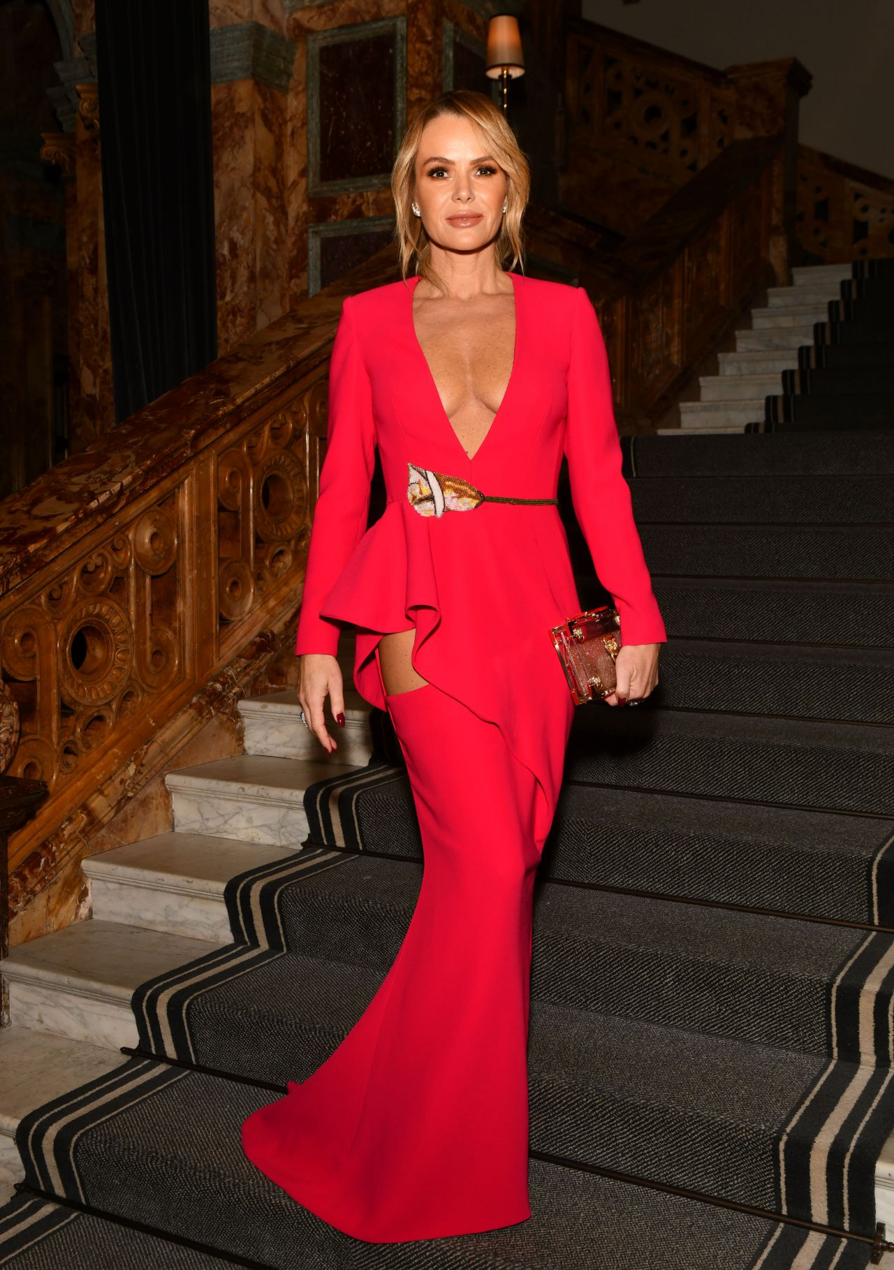 Amanda Holden sexy, plunging cleavage at Global Gift Gala in London