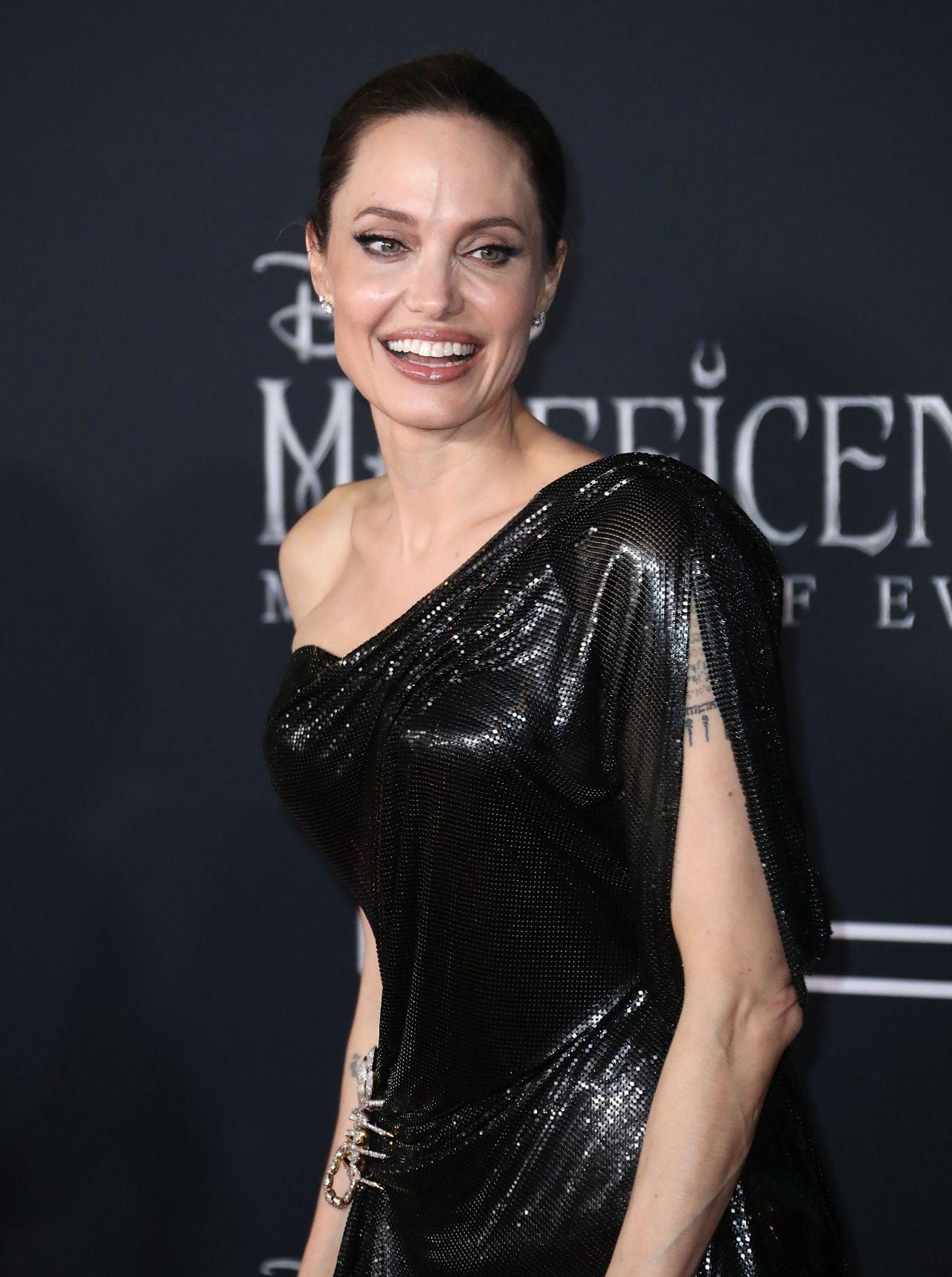 Angelina Jolie In A Black Dress Maleficent Mistress Of