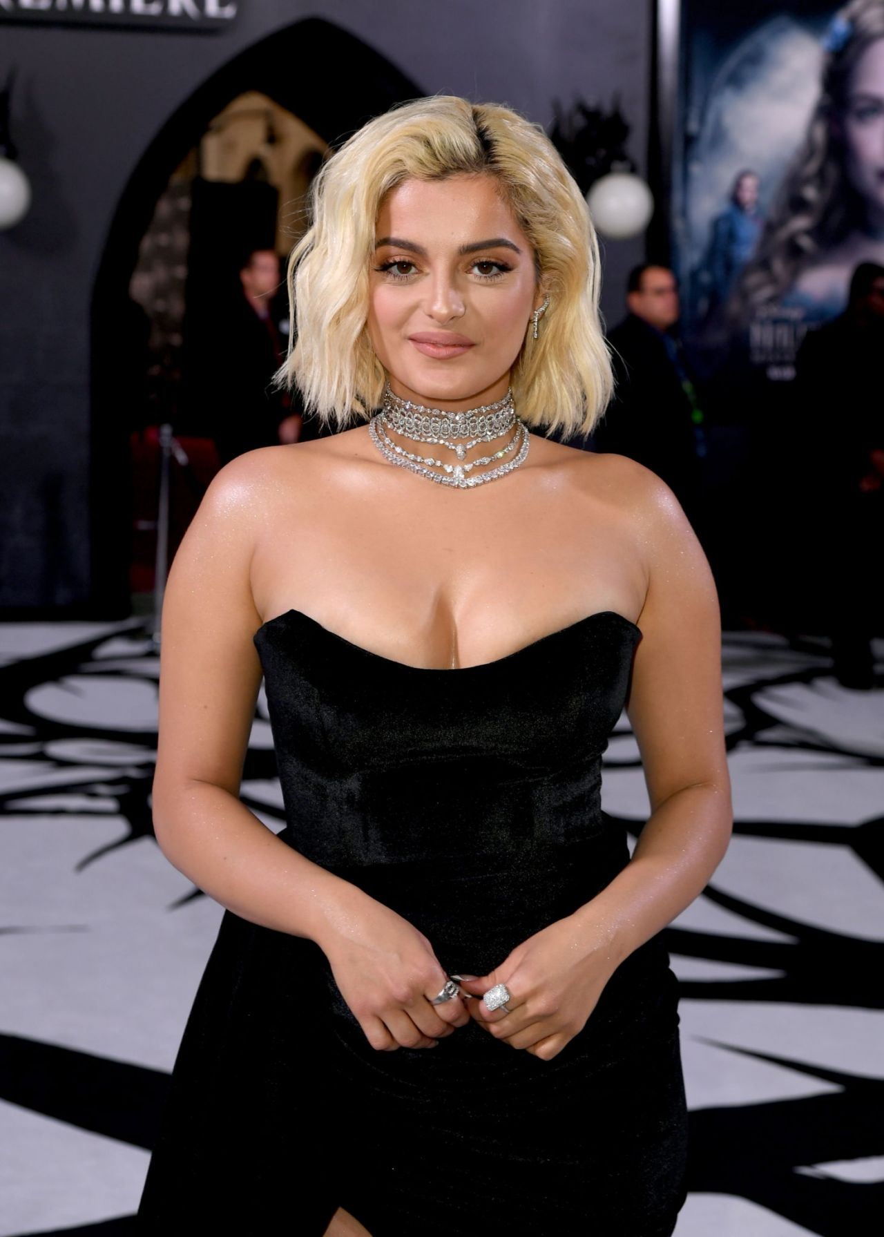 Bebe Rexha In Strapless Black Gown Maleficent Mistress