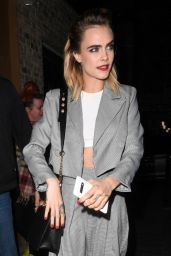 Cara Delevingne Night Out Style - Arriving at the Nasty Gal