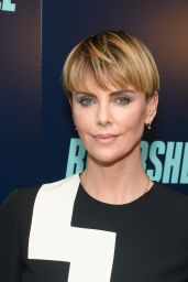 "Charlize Theron in Retro Minidress - ""Bombshell"" Screening in NYC"