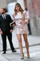 Elizabeth Olsen in Pink Dress - Leaving Jimmy Kimmel Live! in Hollywood 10/01/2019